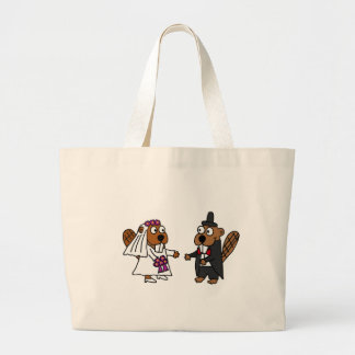 Funny Beaver Bride and Groom Wedding Tote Bag