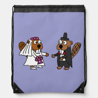 Funny Beaver Bride and Groom Wedding Design Drawstring Backpacks