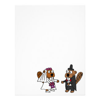 Funny Beaver Bride and Groom Wedding Personalized Letterhead