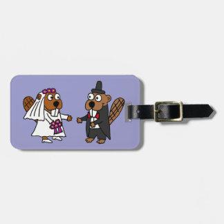 Funny Beaver Bride and Groom Wedding Luggage Tag