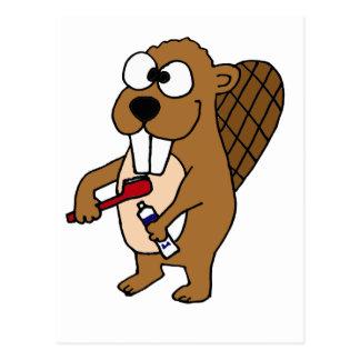 Funny Beaver Brushing Teeth Cartoon Postcard