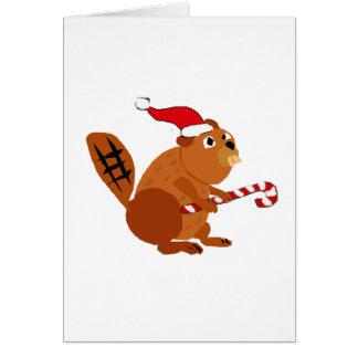 Funny Beaver in Santa Hat Christmas Art Card