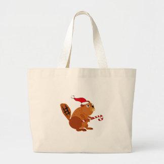 Funny Beaver in Santa Hat Christmas Art Large Tote Bag