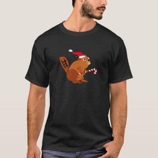 Funny Beaver in Santa Hat Christmas Art T-Shirt