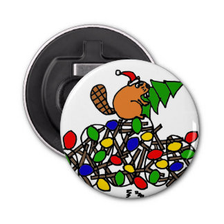 Funny Beaver on Christmas Decorated Dam Button Bottle Opener