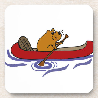 Funny Beaver Rowing in Red Canoe Drink Coasters