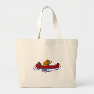 Funny Beaver Rowing in Red Canoe Large Tote Bag