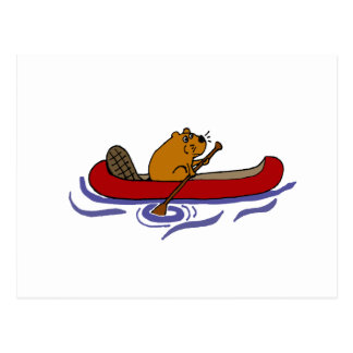 Funny Beaver Rowing in Red Canoe Postcard