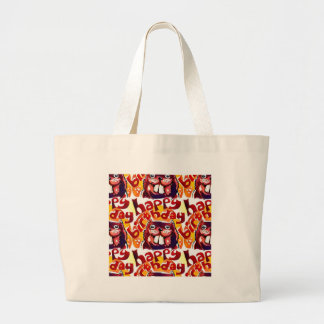 funny beaver with happy birthday text large tote bag