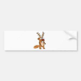 Funny Beaver with Reindeer Antlers Christmas Art Bumper Sticker
