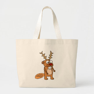 Funny Beaver with Reindeer Antlers Christmas Art Large Tote Bag