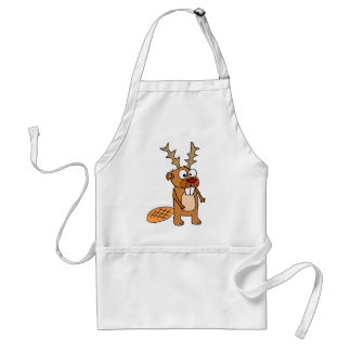 Funny Beaver with Reindeer Antlers Christmas Art Standard Apron