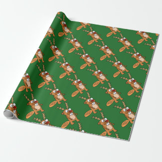 Funny Beaver with Reindeer Antlers Christmas Art Wrapping Paper
