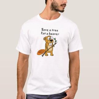Funny Beaver with Tree Cartoon T-Shirt