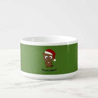 Funny Beaver-y Merry! Santa Beaver Chili Bowl