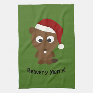 Funny Beaver-y Merry! Santa Beaver Kitchen Towel