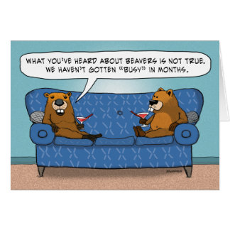 Funny Beavers Not Getting Busy Anniversary Greeting Card