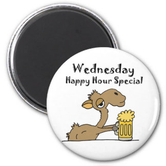 Funny Beer Drinking Camel 2 Inch Round Magnet