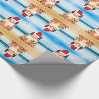 Funny Beer Drinking Christmas Gnome on the Beach Wrapping Paper
