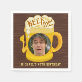 Funny Beer Me Drinking Humor Birthday Party Photo Paper Napkins