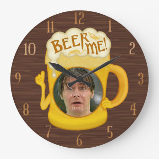 Funny Beer Me Drinking Humor | Personalized Photo Large Clock