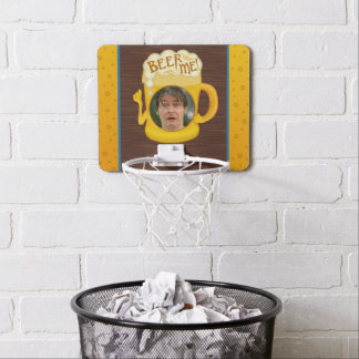 Funny Beer Me Drinking Humor | Personalized Photo Mini Basketball Hoop