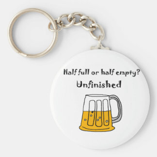 Funny Beer Mug Glass Half Full or Half Empty Basic Round Button Keychain