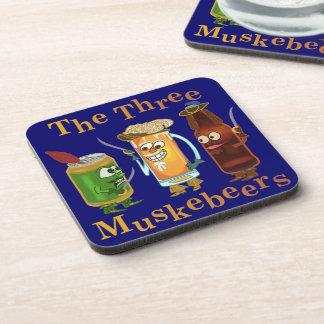 Funny Beer Pun Three Muskebeers Humorous Coaster