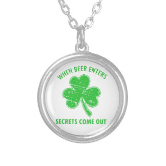 funny beer tees silver plated necklace
