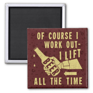 Funny Beer Work Out Humor with Brown Stout Bubbles Square Magnet