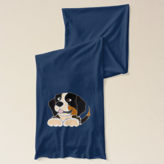 Funny Bernese Mountain Dog Art Scarf