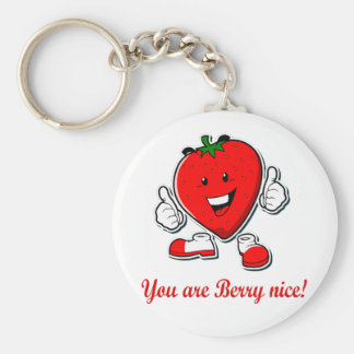 Funny Berry nice unique strawberry pun quote Keychain