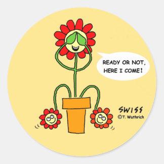 Funny Best Buds Gardening Cartoon Hide 'n' Seek Round Sticker