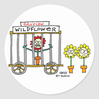 Funny Best Buds Wildflower Cartoon Classic Round Sticker
