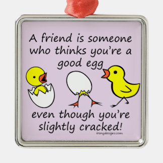 Funny Best Friend Saying (purple) Metal Ornament