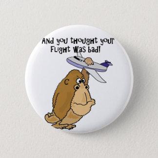 Funny Big Ape Holding Airplane Cartoon 2 Inch Round Button
