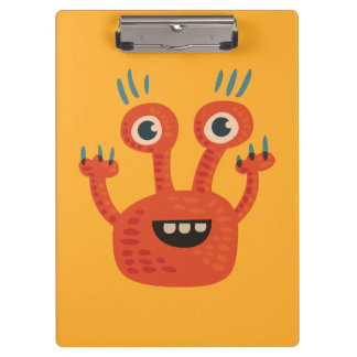 Funny Big Eyed Smiling Cute Monster Clipboard
