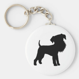 Funny Big Head Airedale Terrier Basic Round Button Keychain