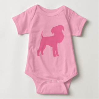 Funny Big Head Airedale Terrier (pink) Baby Bodysuit