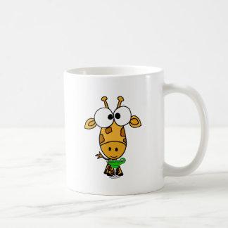 Funny Big Headed Giraffe Drinking Margarita Art Coffee Mug