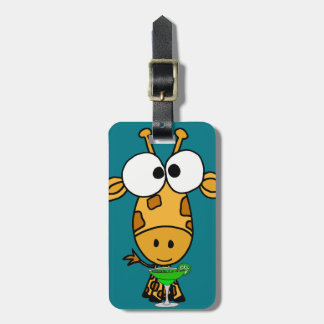 Funny Big Headed Giraffe Drinking Margarita Art Luggage Tag