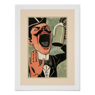 Funny big mouth vintage beer drinking cartoon poster