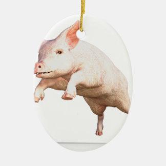 Funny big young  pig jumping high ceramic ornament