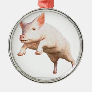 Funny big young  pig jumping high metal ornament