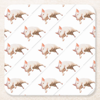 Funny big young  pig jumping high square paper coaster