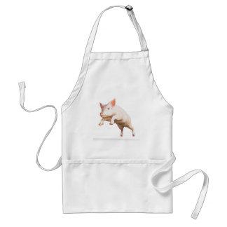 Funny big young  pig jumping high standard apron