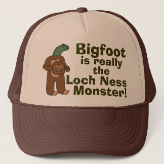 Funny Bigfoot Loch Ness Monster Trucker Hat