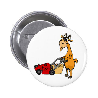 Funny Billy Goat Pushing Lawn Mower Cartoon 2 Inch Round Button