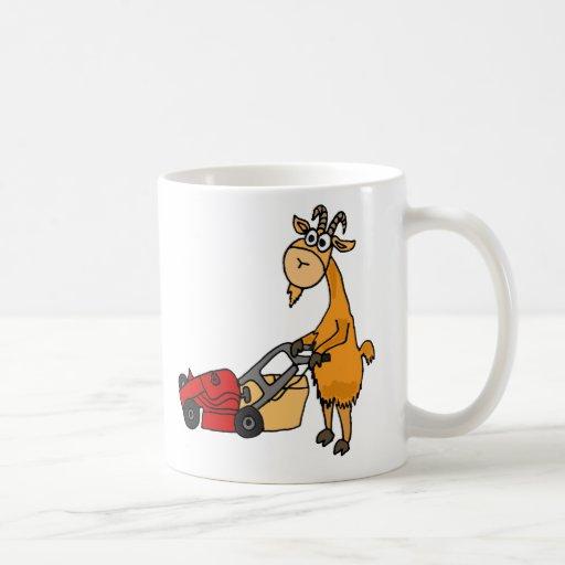 Funny Billy Goat Pushing Lawn Mower Cartoon Coffee Mug