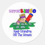 Funny Bingo Grandma Gift Round Stickers